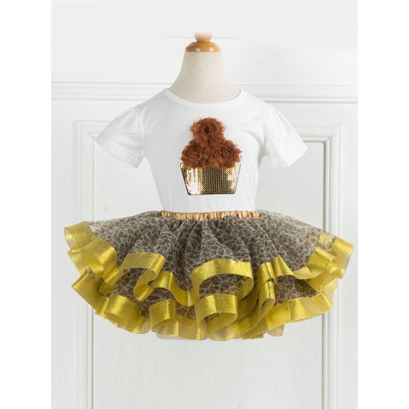 2-Piece Little Big Girl Summer Performance Wear Set Flower Sequin T-shirt+Leopard-spot Tutu Pettiskirt