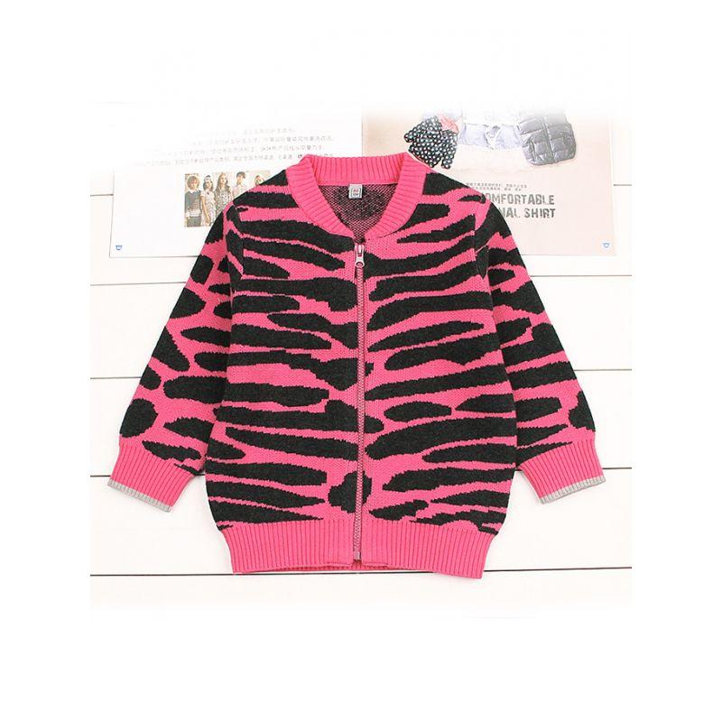 Stylish Baby Boys Girls Zebra Crochet Cardigan Spring Knitted Zip Cotton Coat