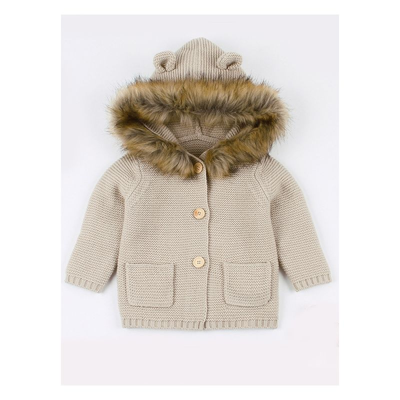 Cute Faux Fur Trimmed Ear Hooded Crochet Coat Baby Winter Outwear