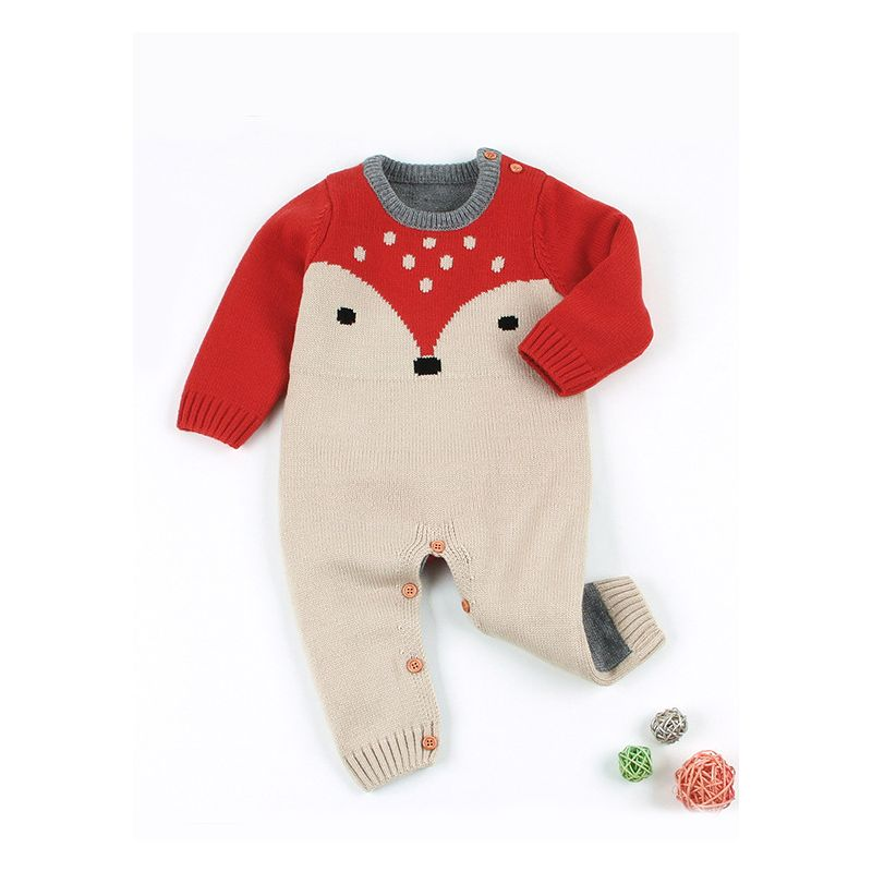 Adorable Fox Style Crochet Baby Romper Knitted Overalls for Autumn Spring