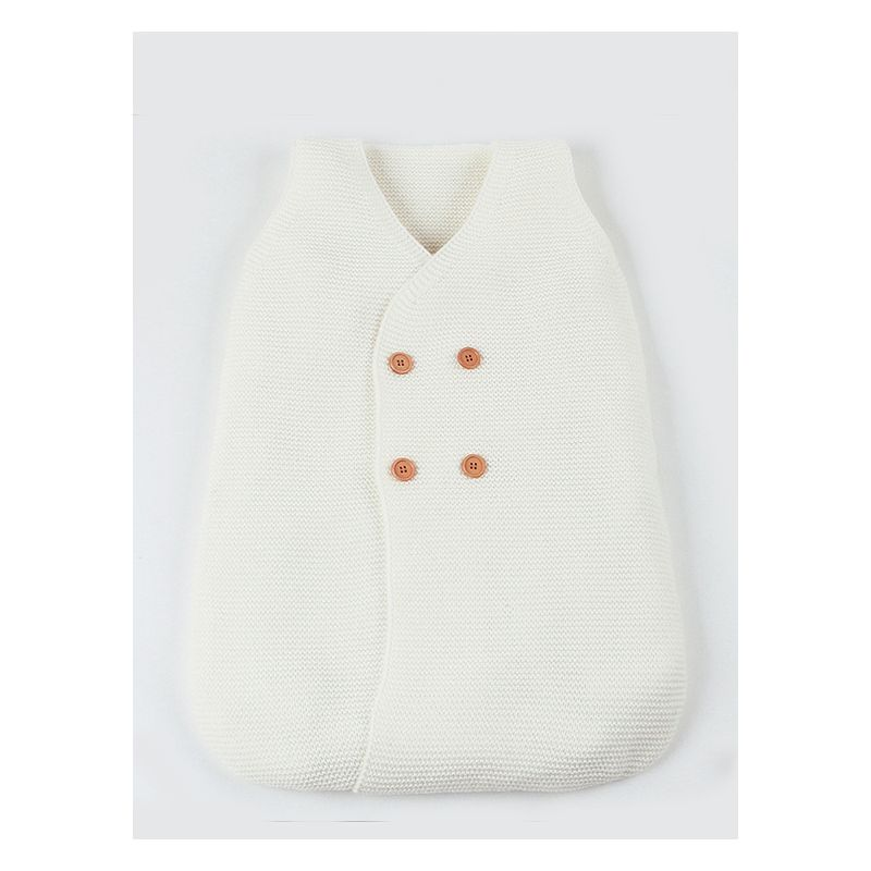 Buttoned Solid Color Knitted Baby Sleeping Bag Infant Sleepsuit