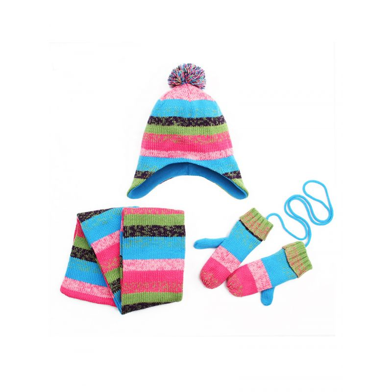 3-piece Toddler Big Boys Girls Color Blocking Winter Fleece Earflap Hat+Fleece Gloves+Scarf Outwear Set