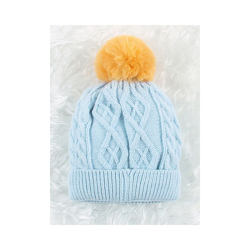 Newborn Baby Pom Cable Knit Beanie Hat