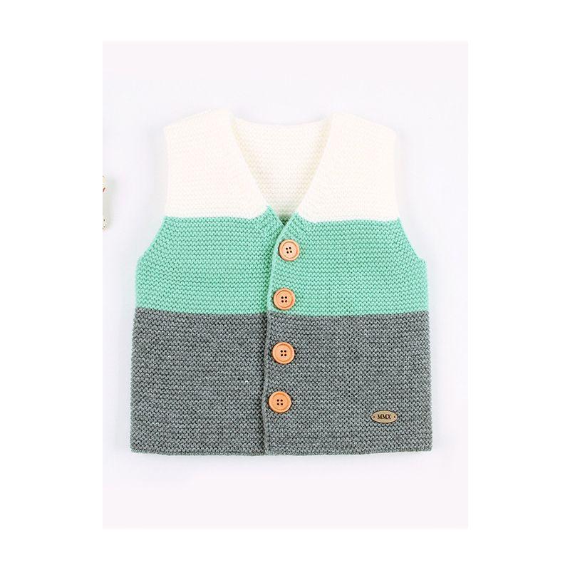 Baby Color Blocking Crochet Waistcoat Infant Knit Vest