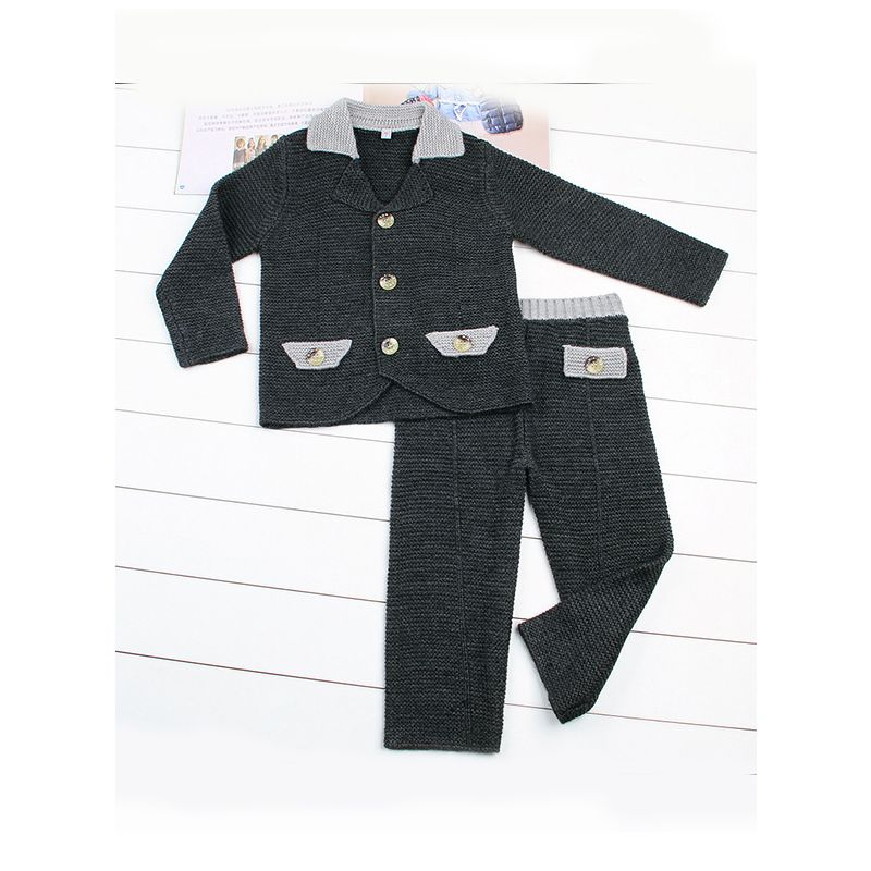 2-Piece Fashion Little Boys Spring Knitted Clothes Outfits Set Crochet Suit Jacket+Pants