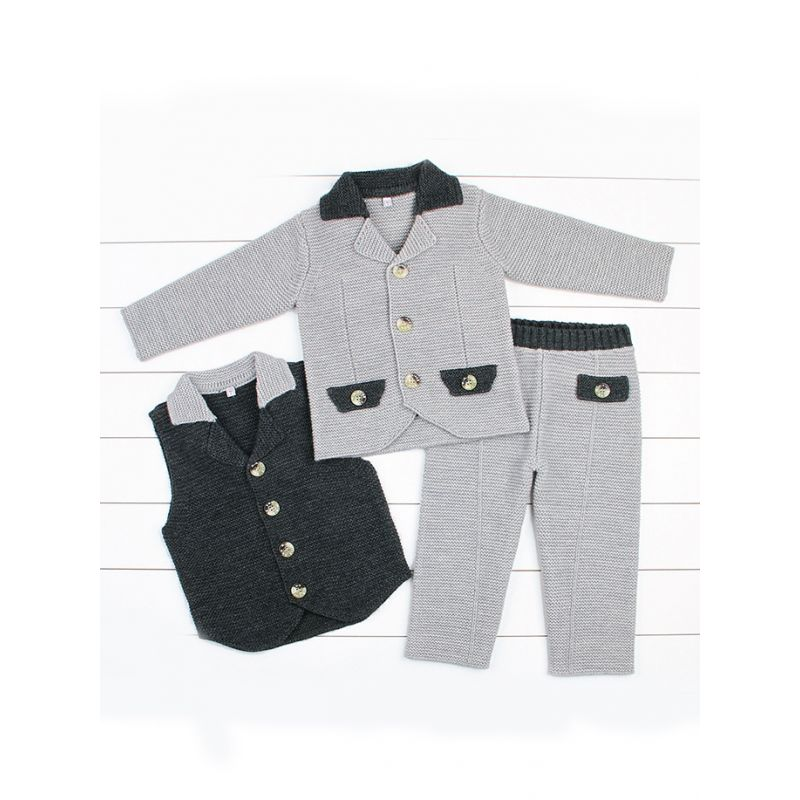 3-Piece Stylish Toddler Boys Suit Crochet Waistcoat+Suit Jacket+Pants