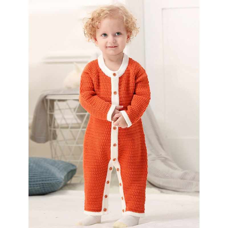 Baby Boys Girls Knit Romper Infant Buttoned Overalls