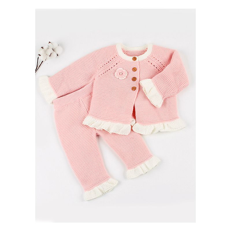2-piece Spanish Sytle Baby Girl Knit Clothes Outfits Set Flower Ruffle Cardigan+Ruffle-hem Crochet Pants