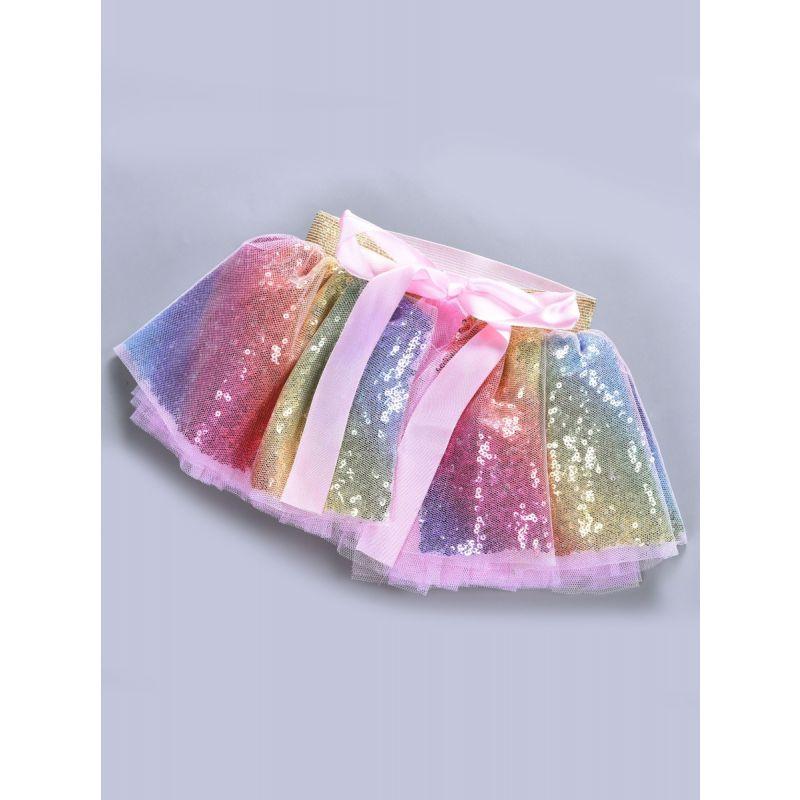 Fashion Sequin Rainbow Color Bow Baby Girl Tutu Pettiskirt