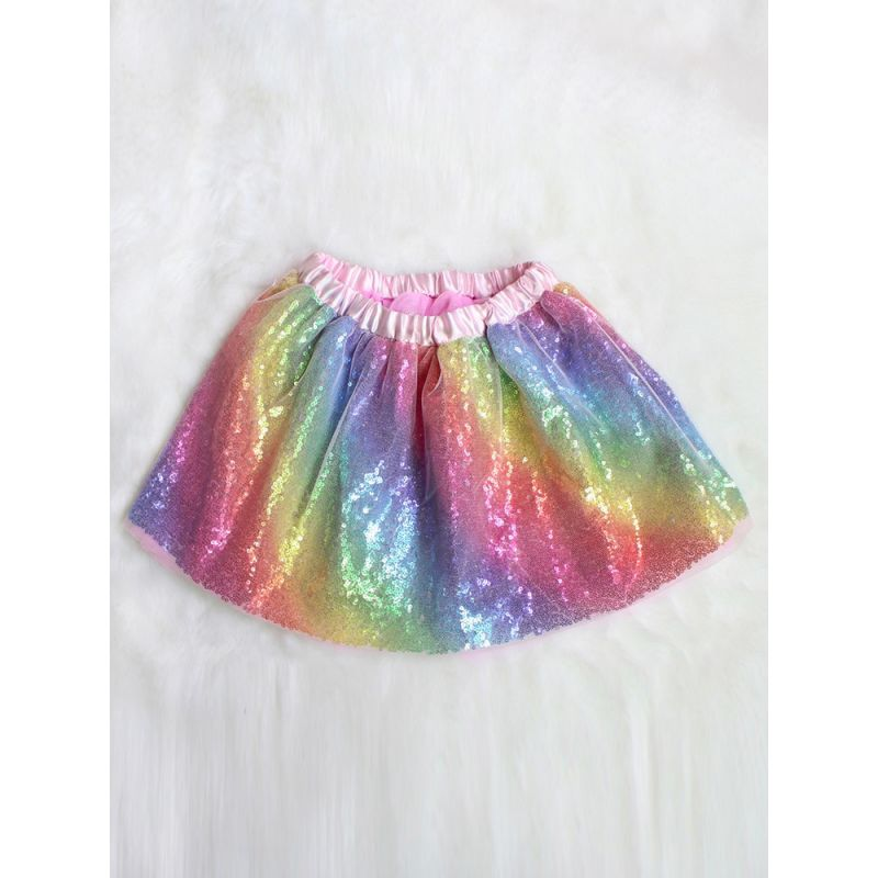 Toddler Big Girl Sequin Rainbow Color Tutu Pettiskirt Party Dress