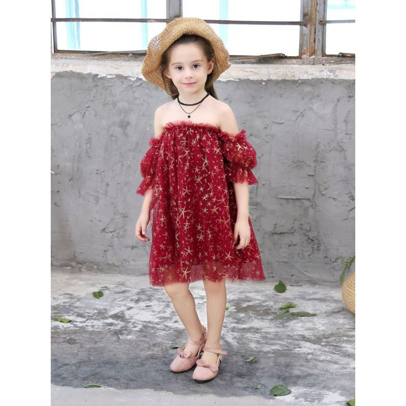 Little Big Girl Gold Star Ruffle Off-shoulder Tulle Dress Summer Party Dress