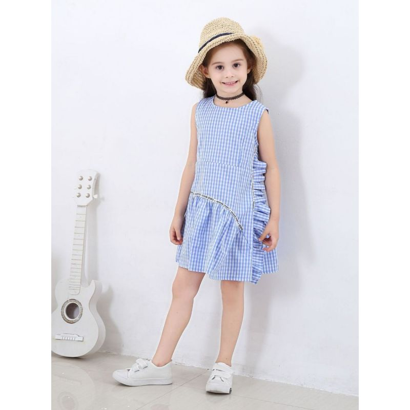 Little Big Girl Ruffle Letters Checked Sleeveless Summer Casual Dress