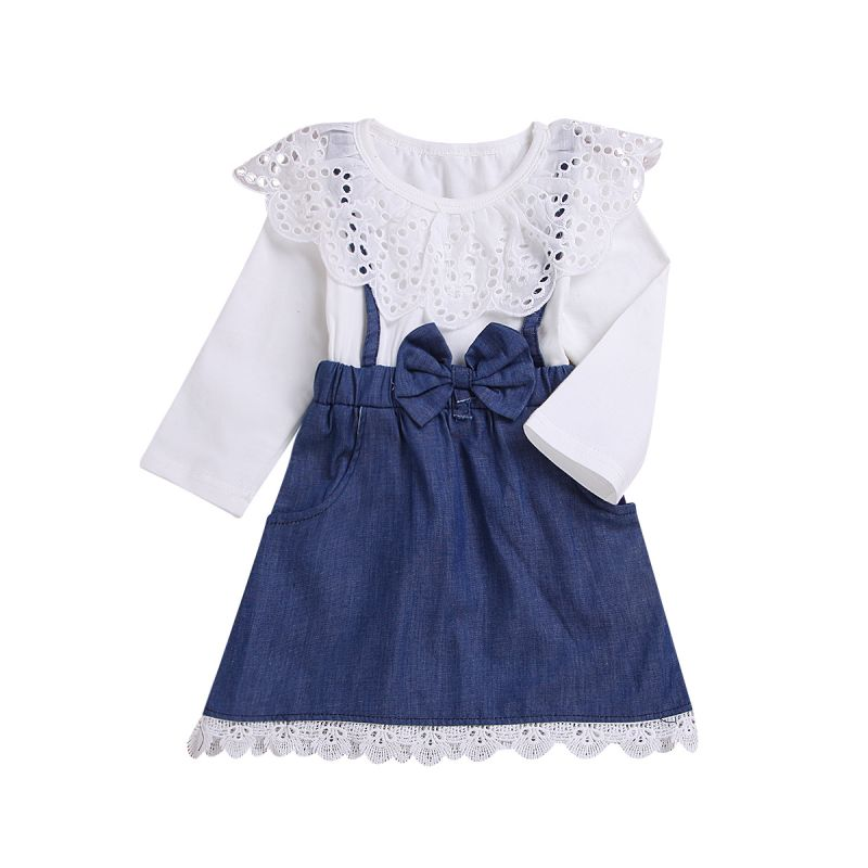 Little Big Girl Pierced Collar Bow Denim Patchwork Dress for Spring