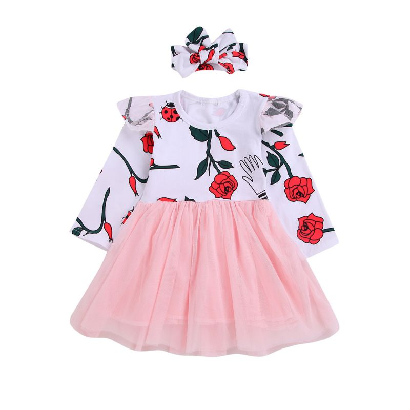 Baby Little Girl Spring Flutter Sleeve Rose Tulle Patchwork Dress with Headband