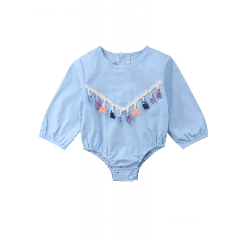 Spring Tassel Trimmed Baby Girl Romper Long Sleeve Blue/White Spanish Style Baby Clothes