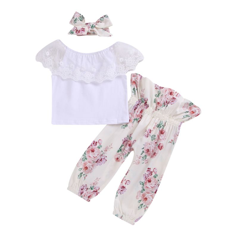 3-Piece Baby Girl Spring Summer Casual Outing Clothes Outfits Set Flower Lace Collar White T-shirt+ Floral High-waisted Trousers+Headband