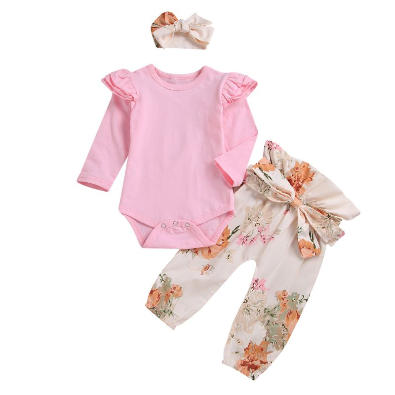 3-Piece Infant Girl Spring Holiday Clothes Outfits Set Pink Flutter Sleeve Romper+Bow Flower High-waisted Trousers+Headband