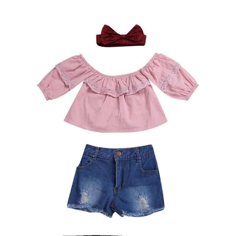 3-piece Baby Girl Summer Casual Clothes Outfits Set Pink Lace-trimmed Shirt Top+ Fringe Hem Ripped Denim Shorts+Red Bow Headband