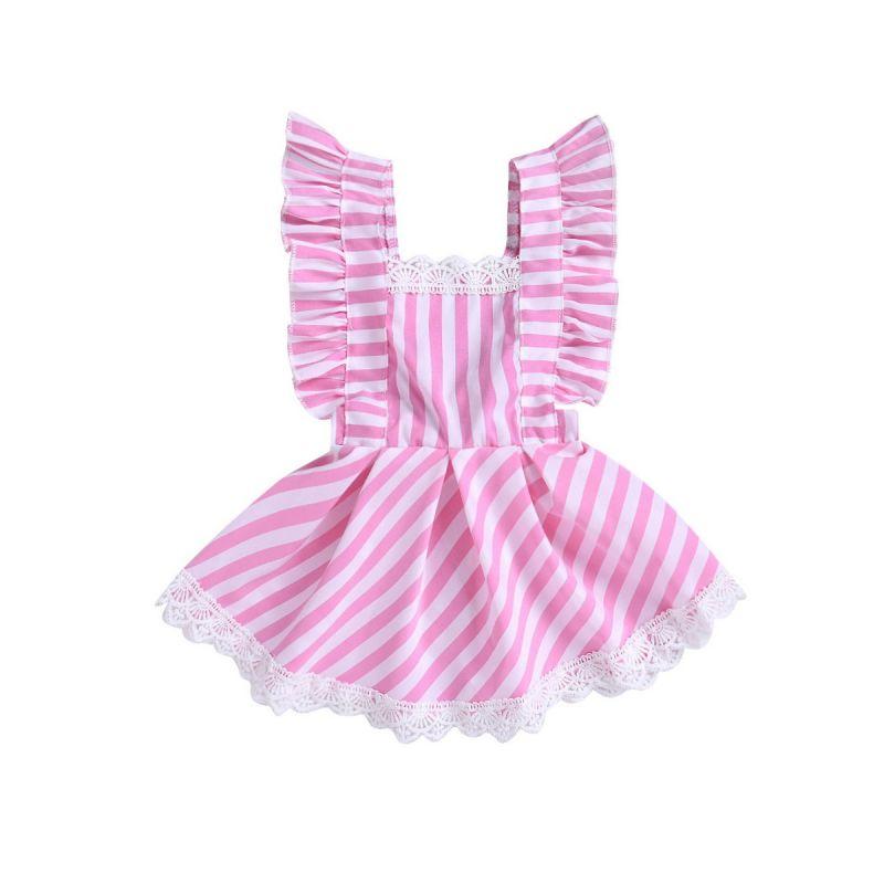 Baby Little Girl Lace Trimmed Striped Ruffle Sleeveless Summer Dress