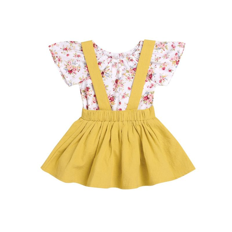2-Piece Infant Girl Summer Holiday Clothes Outfits Set Flower Romper+Yellow Jumper Skirt