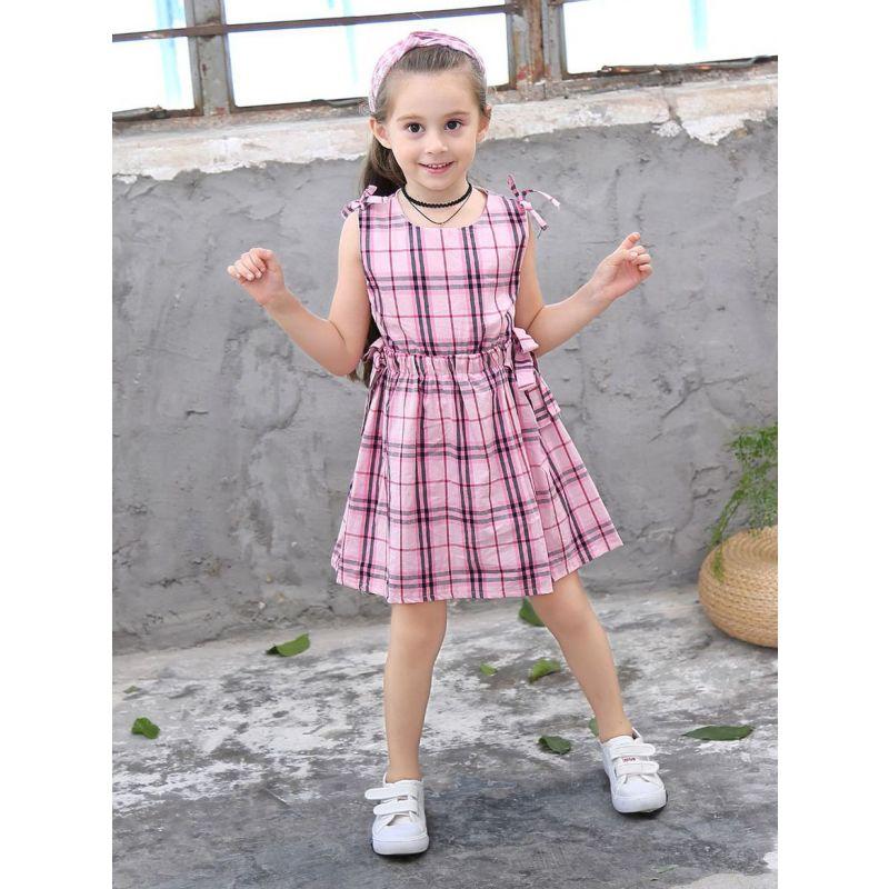 Toddler Big Girl Bow Plaid Sleeveless Summer One-piece Dress Kids Cotton Dress