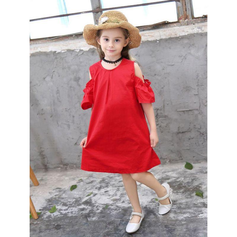 Little Big Girl Summer Casual Red Off Shoulder Bow Shift Dress