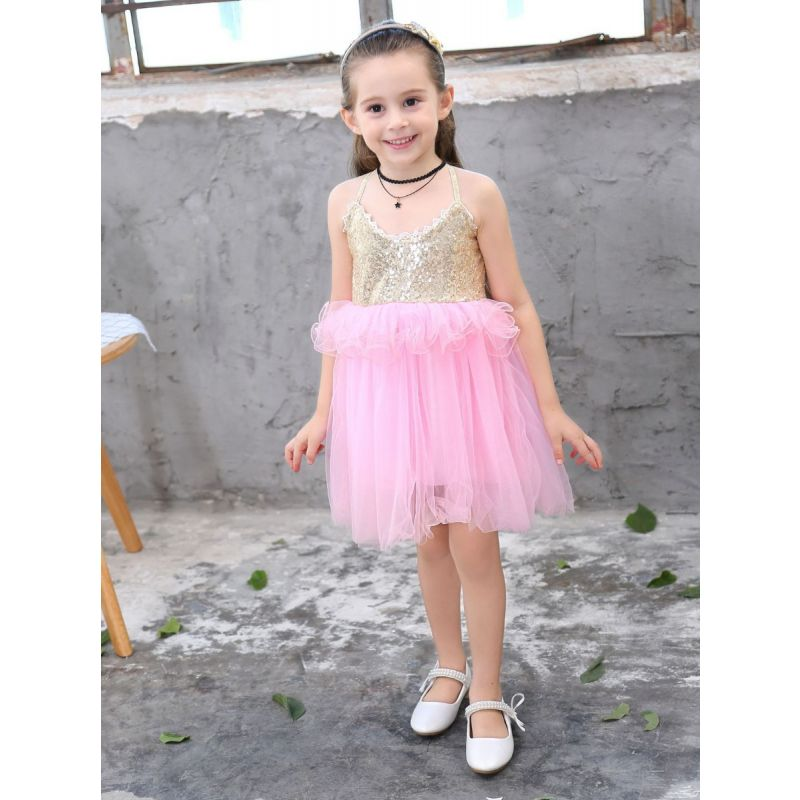 Toddler Big Girl Sleeveless Sequin Suspender Tulle Dress Kids Princess Party Dress