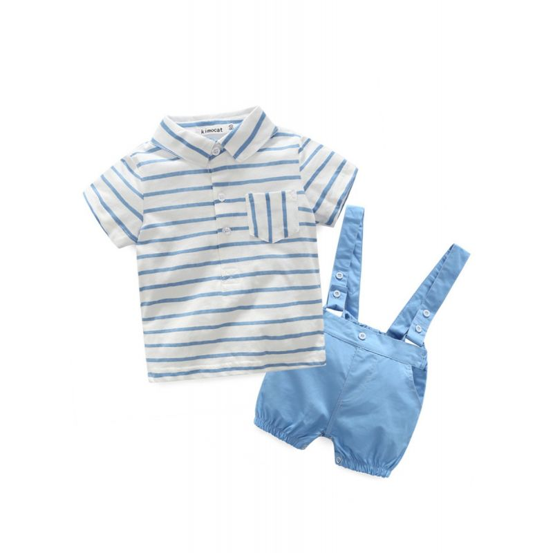 2-piece Baby Boy Summer Clothes Outfits Set Striped T-shirt +Blue Suspender Shorts