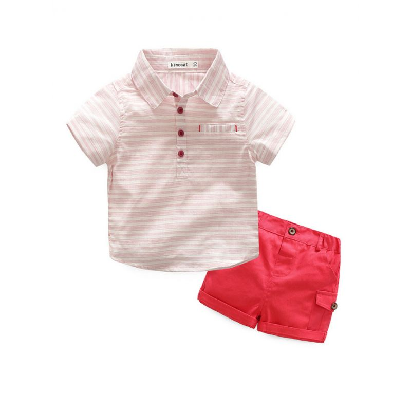 2-piece Baby Summer Clothing Outfits Set Striped T-shirt +Red Shorts