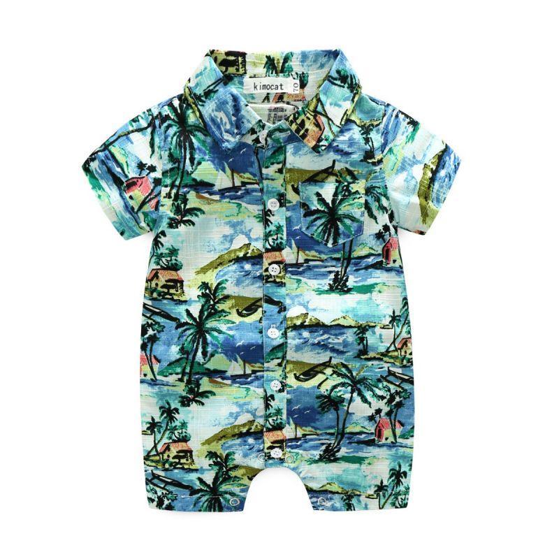 Hawaiian Style Baby Boy Summer Onesie Infant Beach Bodysuit