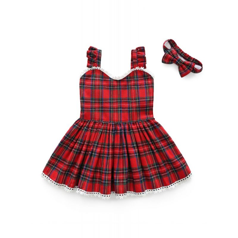 Little Big Girl British Style Plaid Lace-hem Suspender Dress with Headband