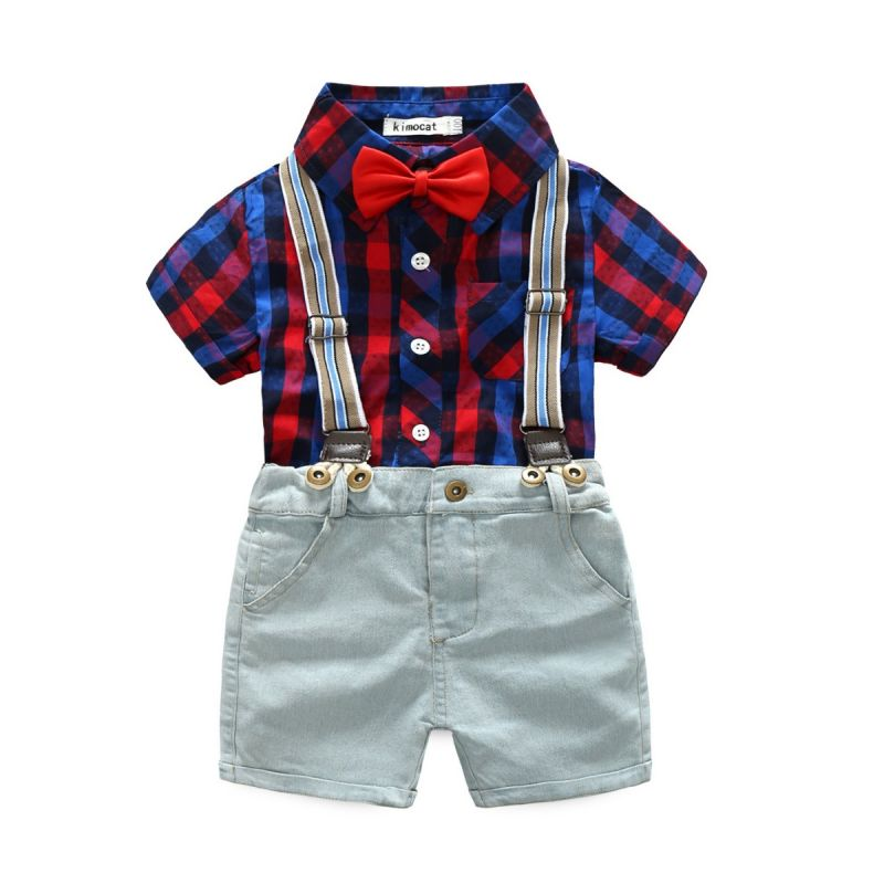 2-piece Summer Boys British Style Clothes Outfits Set Checked Short-sleeved Shirt+Suspender Denim Shorts