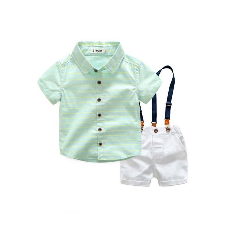 Summer Boys Two-Piece Suit Short Sleeved Striped Shirt+White Suspender Shorts