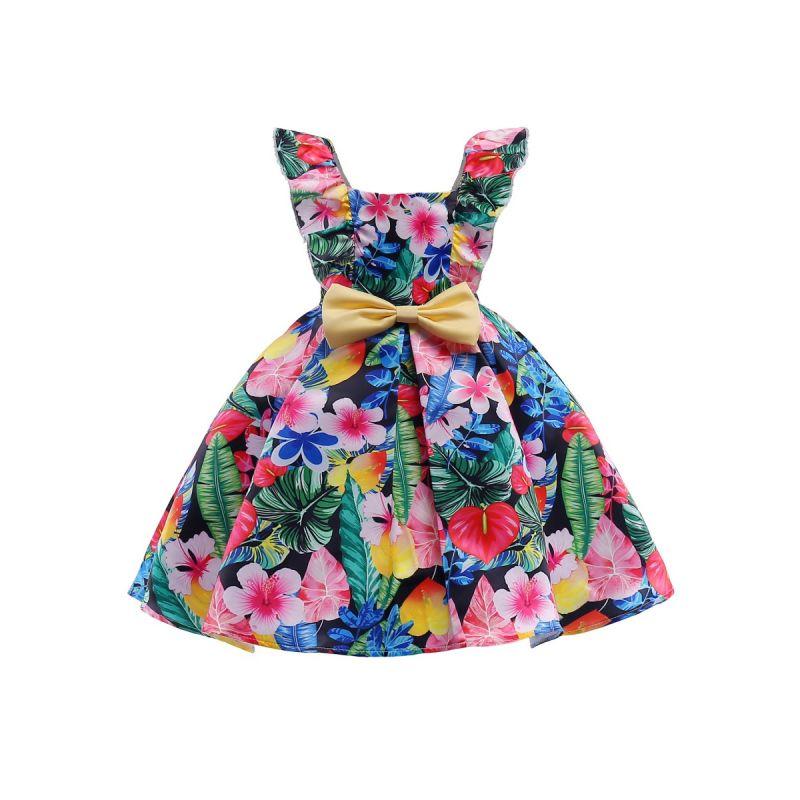 Big Bow Flower Sleeveless Party Dress Kids Summer Casual One-Piece Dress