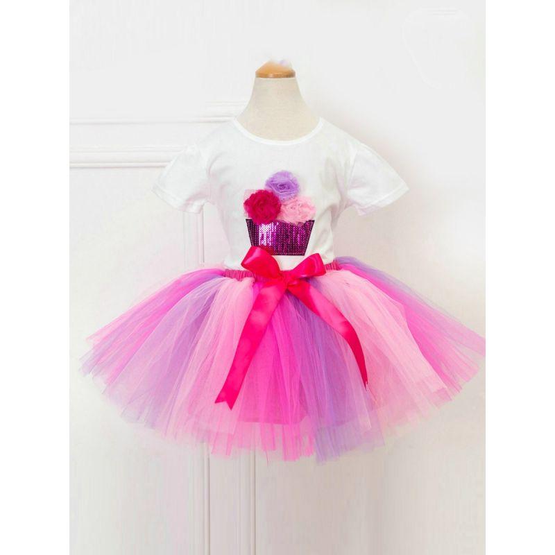 2-Piece Little Big Girl Summer Party Clothes Outfits Set Flower Sequin T-shirt+Tutu Pettiskirt