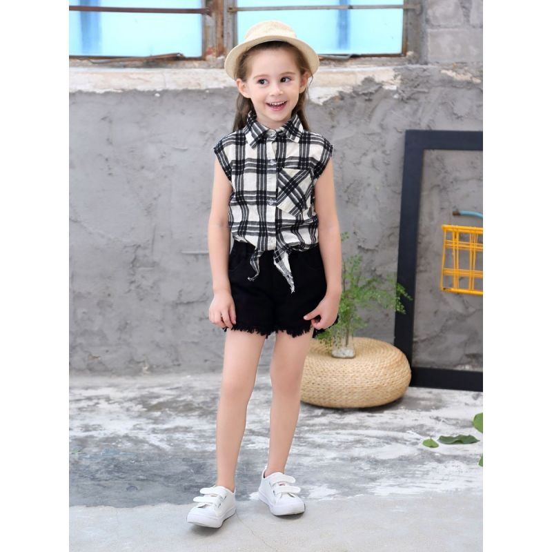 2-piece Little Big Girl Sleeveless Shirt Top+Black Fringe Hem Short Pants Set