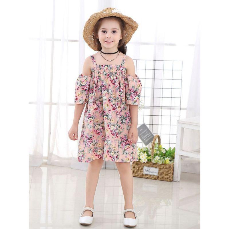 Summer Classic Floral Off-shoulder Shift Dress for Toddler Big Kids Girl