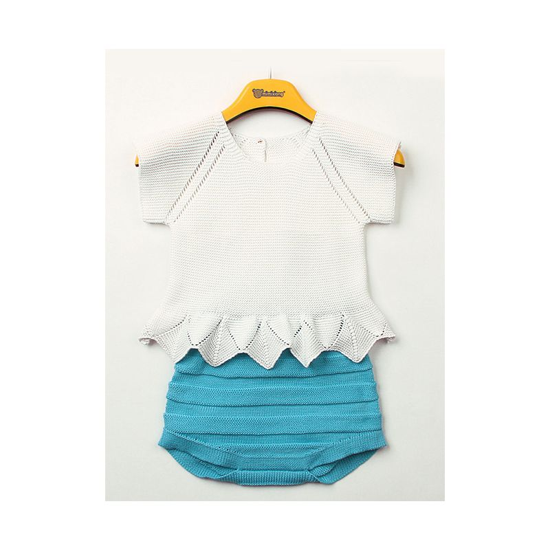 2-piece Baby Girl Summer Knit Clothes Outfits Set White Ruffle Tops+Blue Shorts