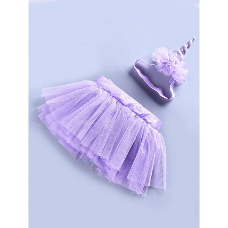 Stylish Baby Girl Purple Tutu Pettiskirt Party Dancing Skirt with Unicorn Headband