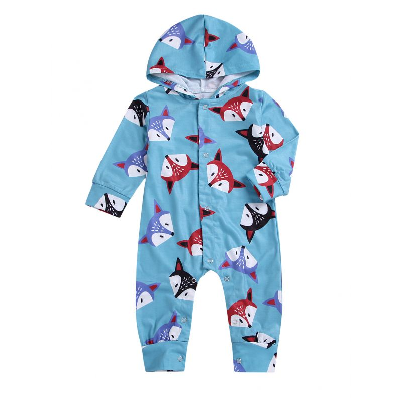 Baby Hooded Fox Buttoned Overalls Infant Spring Sleepsuit