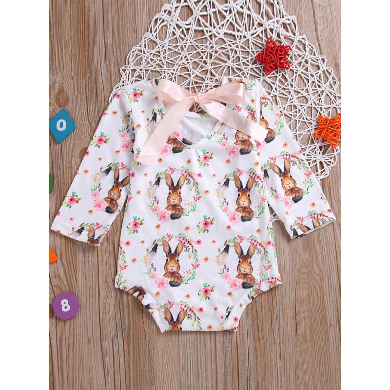 Cute Flower Bunny Infant Girl Lace Up Romper Baby Easter Onesie