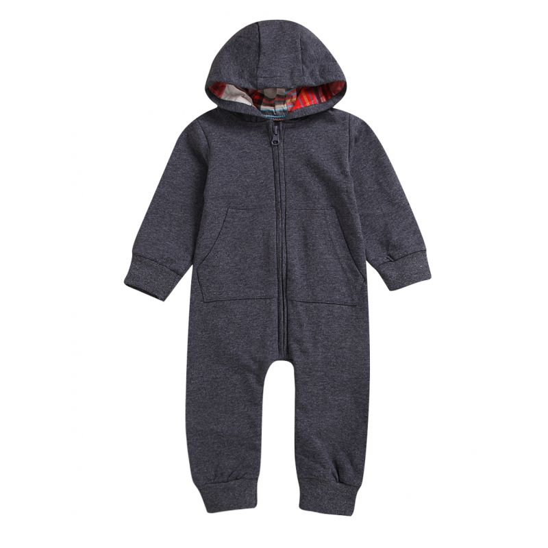 Infant Spring Hooded Zip Overalls with Kangaroo Pocket