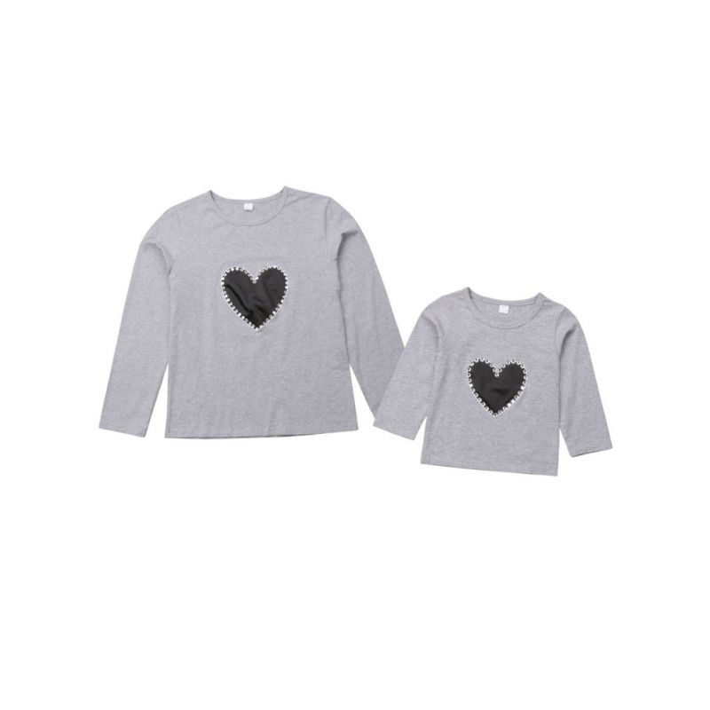 Mommy and Me Love Heart T-shirt Pullover for Spring