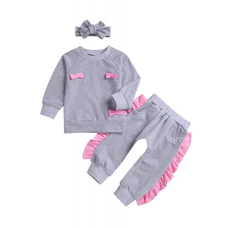 3-Piece Baby Little Girl Spring Casual Clothing Outfits Set Bow Sweatshirt+Ruffle Pants+Headband