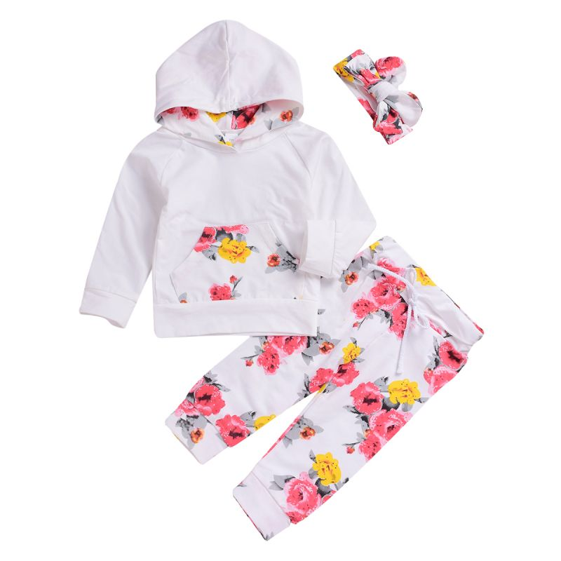 3-piece Infant Little Girl Outing Clothes Set Hoodie+Flower Pants+Headband