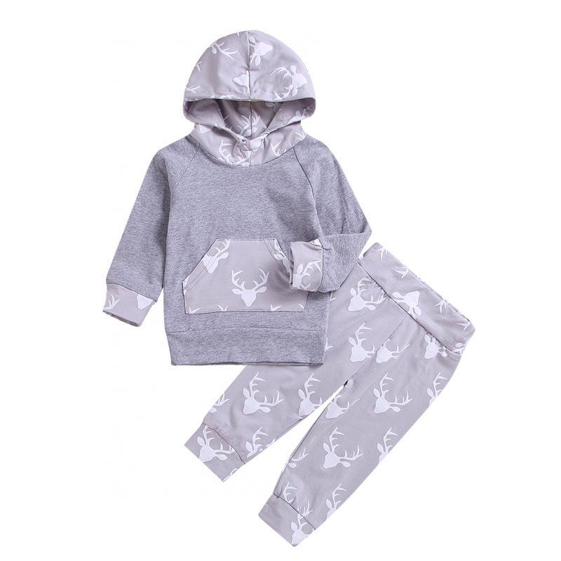 2-piece Spring Casual Sweat Suit Long Sleeve Hoodie+Reindeer Pants