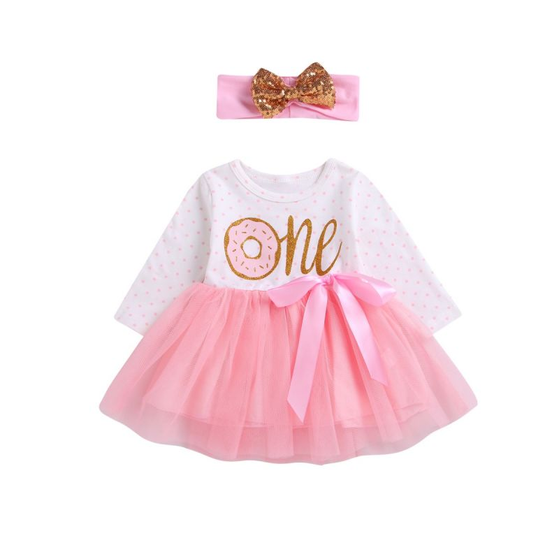 Infant Girl Tulle Patchwork Bow Party Dress with Sequin Bowknot Headband