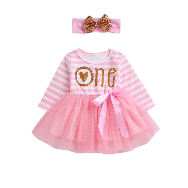 Baby Girl Striped Tulle Patchwork Bow Party Dress  with Sequin Bowknot Headband