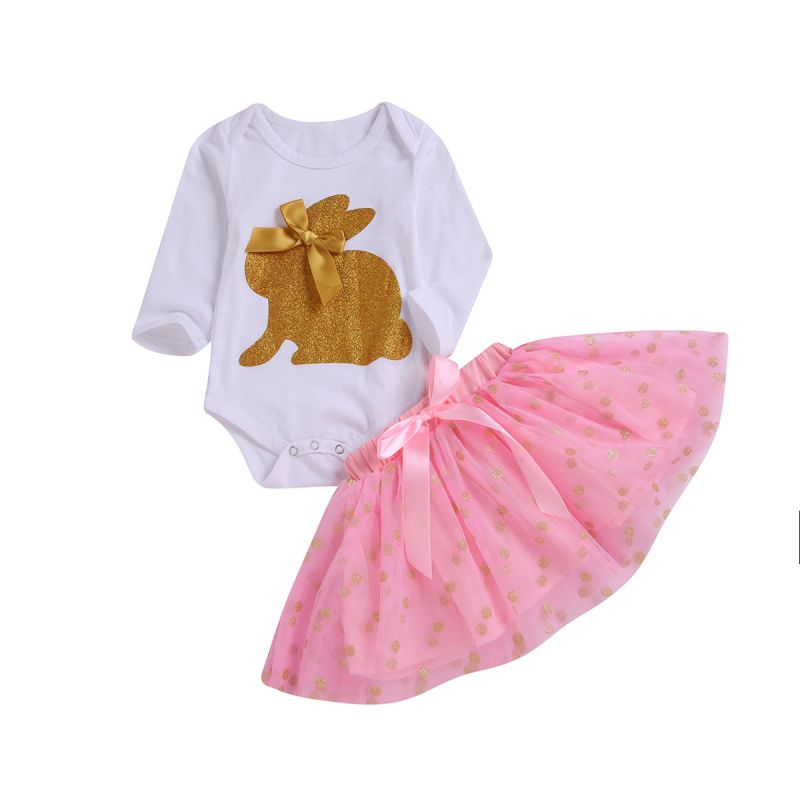 2-Piece Baby Girl Easter Clothes Outfits Set Gold Shiny Bunny Romper+Bow Tulle Skirt