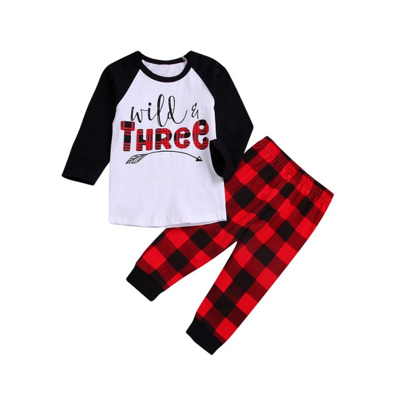 2-piece Infant Little Boys Girls Spring Casual Clothing Outfits Set WILD THREE Color-blocking T-shirt +Checked Pants